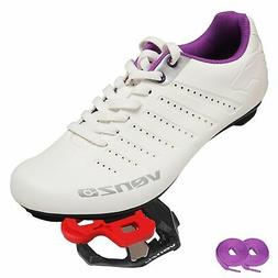 Venzo Bicycle Women's Lace Road Cycling Shoes With Venzo KEO